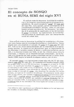 El concepto de SONQO en el RUNA SIMI del siglo XVI