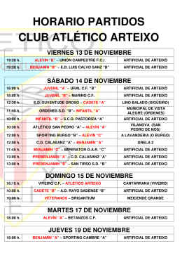 horario partidos club atlético arteixo sábado 17 de octubre