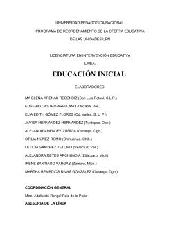EDUCACIÓN INICIAL - Licenciatura en Intervención Educativa