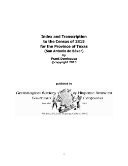 Index and Transcription to the Census of 1815 for the