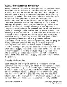 REGULATORY COMPLIANCE INFORMATION Copyright Information