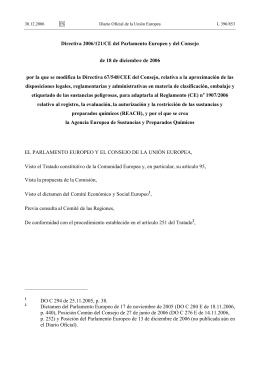 Directiva 2006/121/CE del Parlamento Europeo y del Consejo de 18
