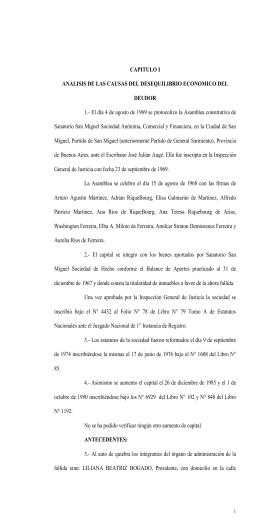 CAPITULO I ANALISIS DE LAS CAUSAS DEL DESEQUILIBRIO