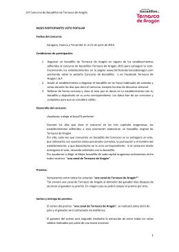 11º Concurso de Bocadillos de Ternasco de Aragón. BASES
