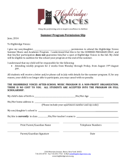 Summer Program Permission Slip