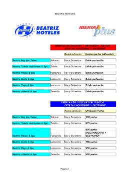 BEATRIZ HOTELES Página 1 OFERTAS EN EMISION