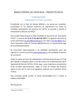 Comunicado Suscripción Fatca - Banco Central de Costa Rica
