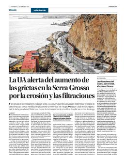 La UA alerta del aumento de las grietas en la Serra Grossa por la