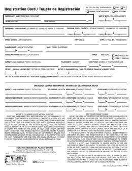 Registration Card / Tarjeta de Registración