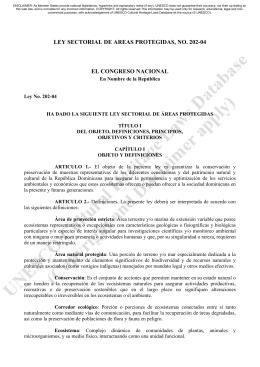 Ley sectorial de areas protegidas N. 202-04