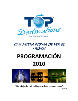 PROGRAMACIÓN 2010 - Top Destinations ::: Mayorista de Turismo