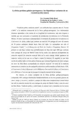 La lírica profana galaico-portuguesa y las hipotéticas