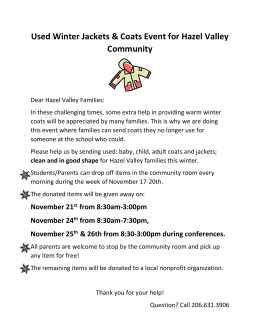 Used Winter Jackets & Coats Event for Hazel Valley Community