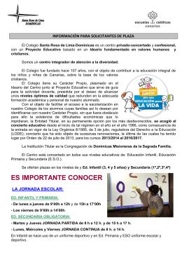 MATRICULACIÓN DE ALUMNOS - Colegio Santa Rosa de Lima