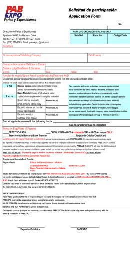 Solicitud de participación Application Form