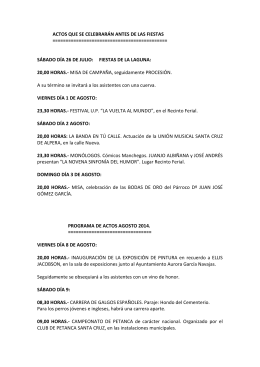 PROGAMA DE ACTOS AGOSTO 2014