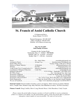 May 9-10, 2015 - St. Francis of Assisi Catholic Church