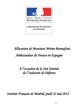 Allocution de Monsieur Jérôme Bonnafont, Ambassadeur de France