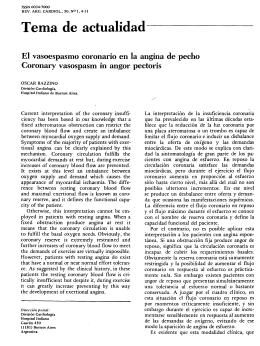 El vasoespasmo coronario en la angina de pecho