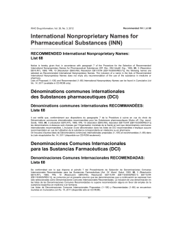 International Nonproprietary Names for Pharmaceutical Substances