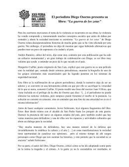 """El periodista Diego Osorno presenta su libro: """"La guerra de los zetas"""""""