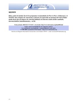 spyware - Seguridad en la Red, Asociación de Internautas