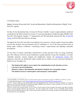 May 28 Letter - Uruguay - Coalition for Sexual and Bodily Rights in