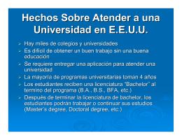Presentación sobre Colegios y Universidades