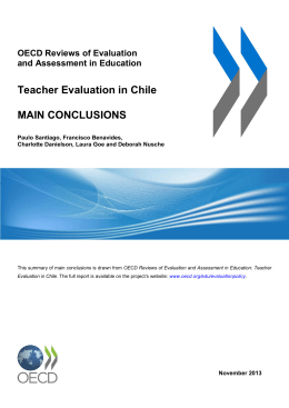 Teacher Evaluation in Chile MAIN CONCLUSIONS