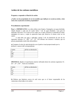 Título: ACIDEZ DE LOS CATIONES METÁLICOS