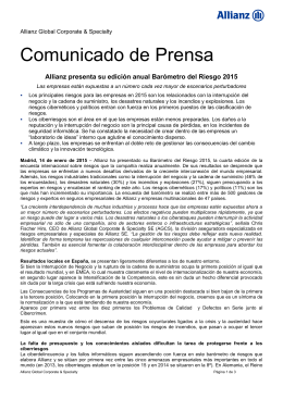 Allianz presenta su edición anual Barómetro del Riesgo 2015