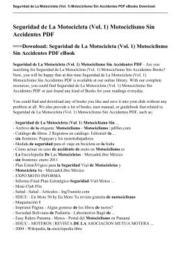 Seguridad de La Motocicleta (Vol. 1) Motociclismo Sin Accidentes pdf