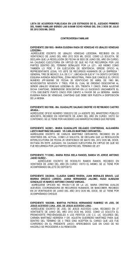 lista de acuerdos publicada en los estrados de el juzgado primero