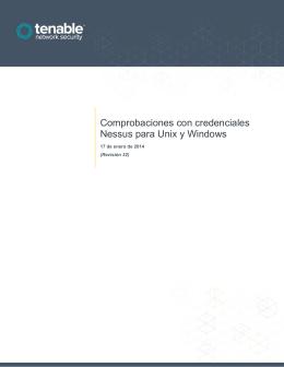 Comprobaciones con credenciales Nessus para Unix y Windows