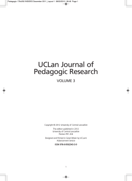 UCLan Journal of Pedagogic Research