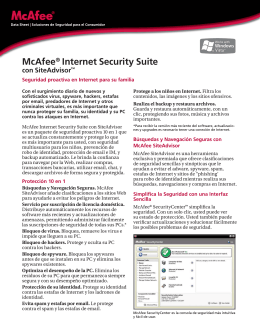 McAfee® Internet Security Suite con SiteAdvisor