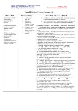 Unidad Didáctica: Números Naturales v02 OBJETIVOS CONTENIDOS