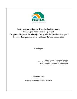 Información sobre los pueblos indígenas de Nicaragua