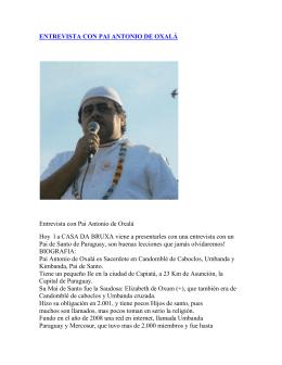ENTREVISTA CON PAI ANTONIO DE OXALÁ Entrevista