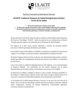 ULACIT realizará Semana de Salud Integral que incluye Feria de la
