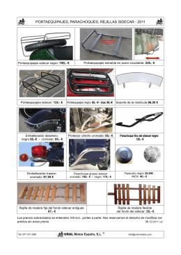 portaequipajes, parachoques, rejillas sidecar - 2011
