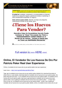 Online, El Vendedor De Los Huevos De Oro Por Patricio Peker Real