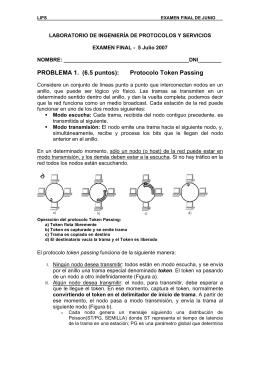 PROBLEMA 1. (6.5 puntos): Protocolo Token Passing