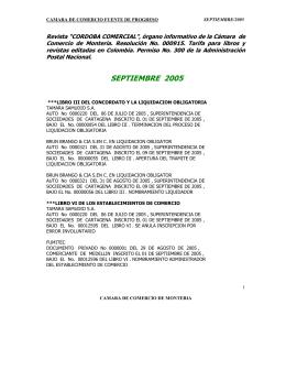 Septiembre de 2005 - Cámara de Comercio de Montería