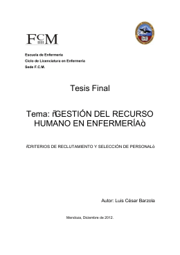 """Tesis Final Tema: """"GESTIÓN DEL RECURSO HUMANO EN ...tema"""