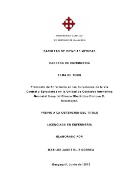 FACULTAD DE CIENCIAS MÉDICAS CARRERA DE ENFERMERIA
