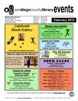 February 2012 Story Times: