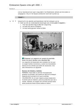 Eindexamen Spaans vmbo gl/tl 2006 - I - examen