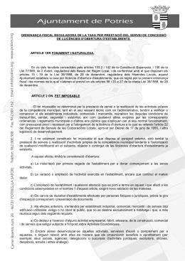 ordenança fiscal reguladora de la taxa per prestació del servei de