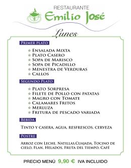 Menú Diario / Daily menu - Restaurante Emilio Jose